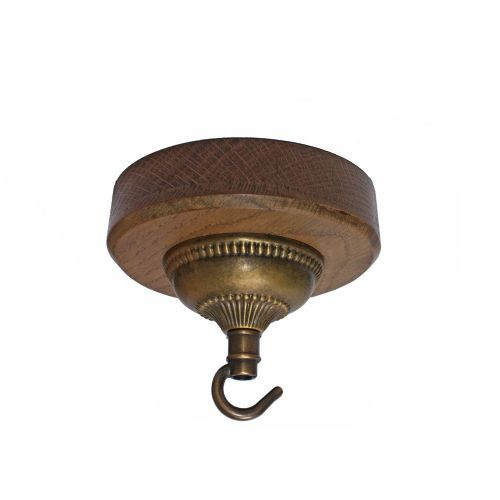 132mm Diameter Oak Pattress and Fancy Solid Brass Brushed Antique Finish Hooked Ceiling Rose
